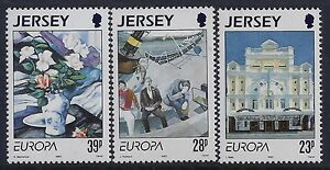 1993 JERSEY EUROPA: PAINTINGS SET OF 3 FINE MINT MNH/MUH