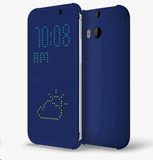 Genuine HTC HC M100 Dot View Flip Case Cover for One M8 - Blue