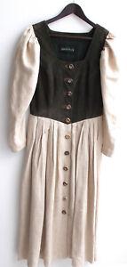 Damen Trachten Kleid Leder braun, Rock Leinen natur Gr. 40 v. Berwin & Wolff