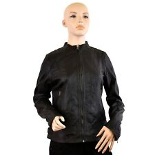 Women Genuine Black Leather Jacket Round neck Zip Up Style Quilted Shoulders