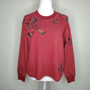 Madewell Women's Floral Embroidered Crop Cutoff Pullover Sweatshirt Size Small