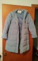 000 Womens Talbots Petites Size Small Light Blue WInter Coat Hooded Good Cond