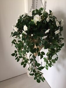 Beautiful Large Ivory Roses Artificial Hanging Basket