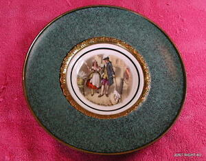 """Regency Bone China (Colonial Couple) PLATE IN 7 5/8"""" BRASS FRAME"""