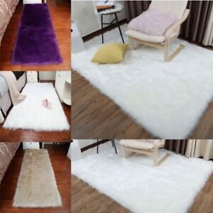 Shaggy Fluffy Area Rug Carpet Faux Fur Soft Floor Living Room Bedroom Decor Mat