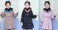 Kids Girls Hooded Long Padded Coats Winter Puffer Jacket Warm Cute Outwear ZG8