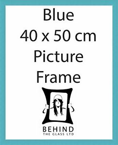 Handmade Blue Wooden Picture Frame - 40x50cm by Behind The Glass