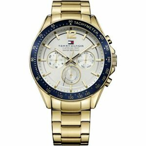 TOMMY HILFIGER LUKE WHITE & GOLD STAINLESS STEEL 1791121 MENS CHRONOGRAPH WATCH
