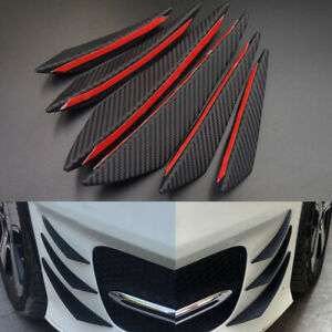 6* SUV Carbon Spoiler Fins Refit Car Front Bumper Lip Splitter Canards Universal