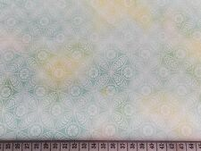 White Floral on Green/yellow Marble Fat Quarter 01