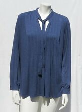 STUDIO M Denim Blue Soft Stretch Rayon Long Sleeve Poet Shirt Tunic Top size M L