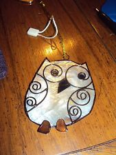 """Owl white mother of pearl thin flat shell 2"""" Christmas Ornament Shabby Chic RARE"""