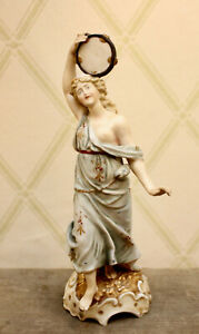 E & A Muller Volkstedt, Dresden, Muse With Tambourine Ceramic Figurine c1895