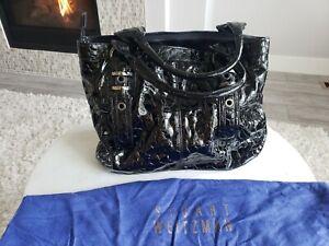 EUC Stuart Weitzman Croc Black Croco Patent Leather Large Tote Bag