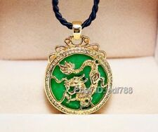 Beautiful Green Jade Inlay Gold Carved Dragon Lucky Pendant + Rope Necklace