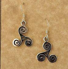 Sterling silver Celtic Triskele Spiral Dangle earrings