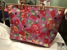 Dooney Bourke XL Floral Garden Rose Leisure Shopper Tote Bag Vinyl Leather Pink