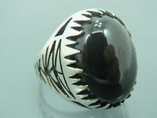 Turkish Handmade Jewelry 925 Sterling Silver Onyx Stone Men's Ring Sz 9
