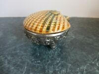 Vintage Ceramic Lid Scallop Sea Shell Trinket Jewelry Box Hinged Footed Bottom