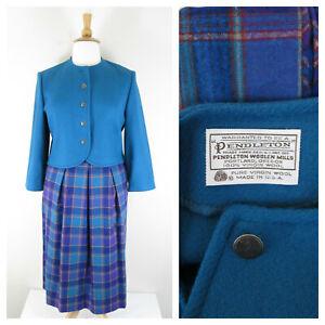 Vintage Pendleton Womens Teal Blue Purple Plaid Virgin Wool Skirt Suit Size 14