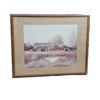 """1970s Gene Speck Wood Framed Old Barn Farm Landscape Matted Framed Print 30""""x24"""""""