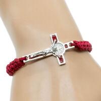 Red Cord Saint St. Benedict Medal Crucifix Cross Macrame Bracelet - Adjustable
