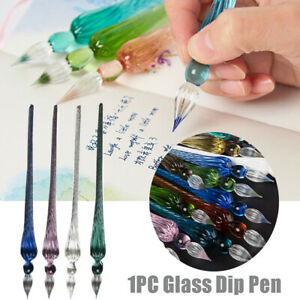 Vintage Glass Dip Dipping Pen illing Ink Signature Calligraphy Fountain Pen~