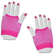 Neon Pink Short Fishnet Hand Gloves Lace Fingerless Punk Emo Party Fancy Dress