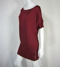 Marciano 100% SILK One Cold Shoulder Chemise BOAT neck Dress Zipper S Small Red