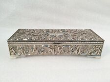 Vintage GODINGER Silver Plated Jewelry Box with Gray Velvet Inside