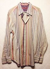 MENS ROBERT GRAHAM DRESS SHIRT: MULTI-COLOR STRIPED: BUTTON FRONT: XL