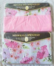 Vintage Springmaid Wondercale Pink Silk Flowers Full Sheet set Flat Fitted