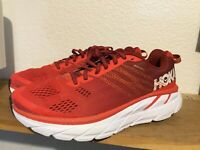 Men's Hoka One One Clifton 6 Sz 9 Red white 1102872 Running Shoes cushioned