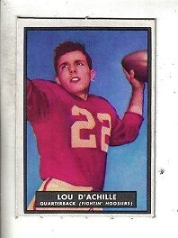 1951 Topps Magic Football Card #14 Lou D'Achille Indiana Fightin' Hoosiers EX/MT
