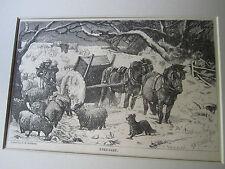 Antique Winter Farm Scene Print Knee Deep drawn G.B. Goddard engraved H. Harral