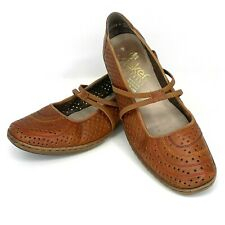 RIEKER Antistress Women Size EU 39 US 8 - 8.5 Mary Jane Brown Perforated Leather
