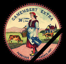 French Cheese Label: Original Vintage Camembert Extra - Charente - France
