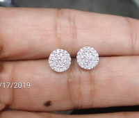 STEAL DEAL! 0.50CT NATURAL ROUND DIAMOND CLUSTER STUD EARRING IN 14K GOLD 7MM