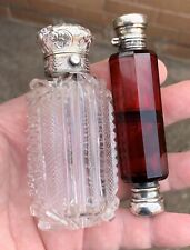 TWO EARLY ANTIQUE VICTORIAN SILVER TOPPED GLASS SCENT BOTTLES, BIRMINGHAM 1890..