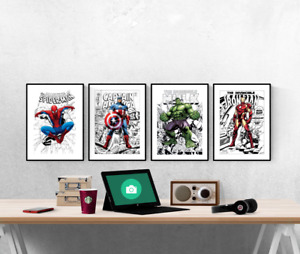 Marvel Avengers Comic Covers Superhero Set Of 4 Prints Pictures Wall Art Poster