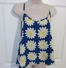 New Woman Chiffon Cami Top Flower Blue Sweet Claire Bui-Yah-Kah Size L