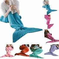 Women's Mermaid Tail Blanket Super Soft Warm Crocheted Knitting For Adult Kids