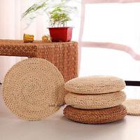 Round Straw Weave Tatami Cushion Pillow Handmade Floor Yoga Pad Seat Mat Natural