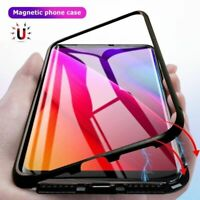 For Samsung Galaxy S10 Plus S10e Luxury Magnetic Metal Case Tempered Glass Cover