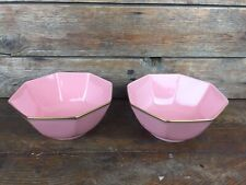 """Fitz & Floyd Pavillon Peach Coral Pink Octagon Vegetable Cereal Bowl 7"""" 1980's"""