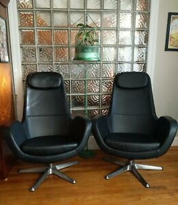 PAIR IKEA ARVIKA leather Scandinavian MCM mid century modern Swivel Lounge Chair