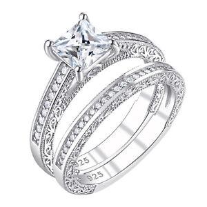Wedding Engagement Ring Set 1.2ct Princess White Cz 925 Sterling Silver Size 10