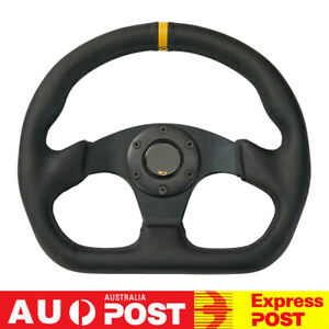 """Universal 13"""" 320mm Leather Racing Sport Flat Drift Steering Wheel with Horn BK"""