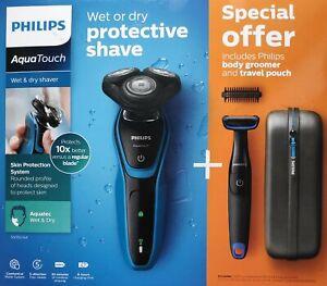 Philips AquaTouch Elektr. Nass- und Trocken Rotationsrasierer S5050/64 3 Scheren
