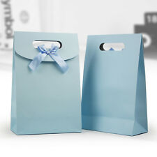 Light blue pretty present gift bag sticky paper bowknot handle party candy bag